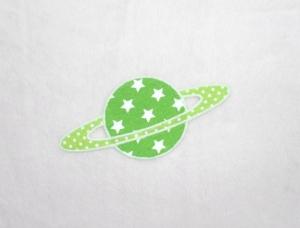 Planet, Sterne, leuchtendgrün, leuchtet im Dunkeln, Stickapplikation zum Aufbügeln            - Handarbeit kaufen