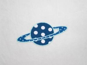 Planet, Punkte, blau, leuchtet im Dunkeln, Stickapplikation zum Aufbügeln              - Handarbeit kaufen