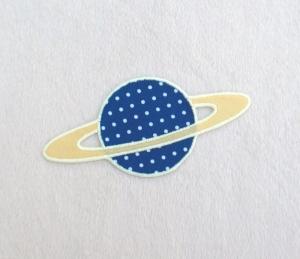 Planet, Pünktchen, blau, leuchtet im Dunkeln, Stickapplikation zum Aufbügeln              - Handarbeit kaufen