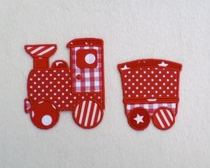Lokomotive mit Anhänger in rot, Nr.2, Stickapplikation zum Aufbügeln                - Handarbeit kaufen