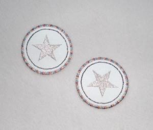 Sterne im Kreis, 2er Set, metallic, Nr.1, Stickapplikation zum Aufbügeln                   - Handarbeit kaufen