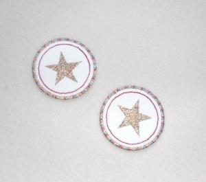 Sterne im Kreis, 2er Set, metallic, Nr.2, Stickapplikation zum Aufbügeln                    - Handarbeit kaufen