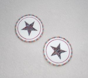 Sterne im Kreis, 2er Set, metallic, Nr.3, Stickapplikation zum Aufbügeln - Handarbeit kaufen