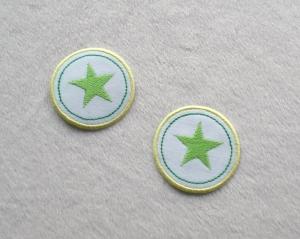 Sterne im Kreis, 2er Set, grüntöne, Nr.4, Stickapplikation zum Aufbügeln  - Handarbeit kaufen
