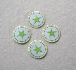Sterne im Kreis, 4er Set, grüntöne, Nr.4, Stickapplikation zum Aufbügeln   - Handarbeit kaufen