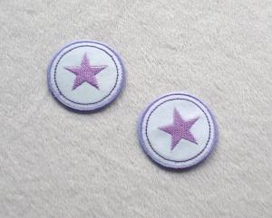 Sterne im Kreis, 2er Set, lilatöne, Nr.5, Stickapplikation zum Aufbügeln   - Handarbeit kaufen