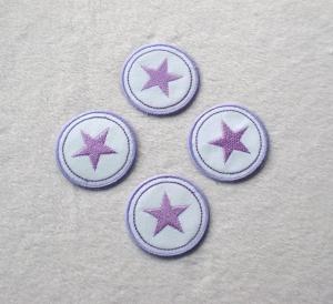 Sterne im Kreis, 4er Set, lilatöne, Nr.5, Stickapplikation zum Aufbügeln   - Handarbeit kaufen