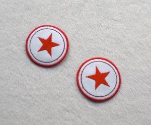 Sterne im Kreis, 2er Set, rottöne, Nr.6, Stickapplikation zum Aufbügeln    - Handarbeit kaufen