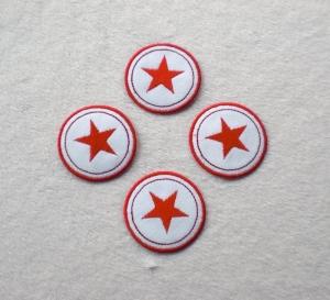 Sterne im Kreis, 4er Set, rottöne, Nr.6, Stickapplikation zum Aufbügeln     - Handarbeit kaufen