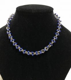 Wunderschönes Einzelstück - Frauenhalskette blau - silber