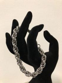 Chainmail Armband - Double Spiral aus Edelstahlringen