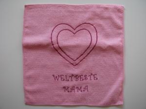 ❤ Mit Liebe besticktes Spültuch, Putztuch ❤ Weltbeste Mama ❤