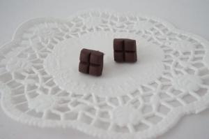 Ohrstecker kleine Schokolade - Schoko-Schmuck - Handarbeit kaufen