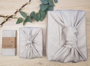 Furoshiki | Creme BW Satin Geschenkverpackung aus Stoff Made in Deutschland