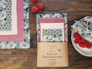 Bienenwachstuch, 5er XL-Set Seerose, Food Wrap