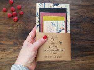 Bienenwachstuch, 5er XL-Set Kranich, Food Wrap