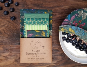 Bienenwachstuch, 5er XL-Set Grün, Food Wrap