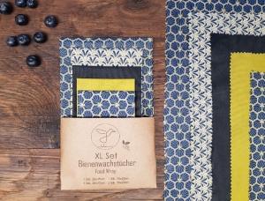 Bienenwachstuch, 5er XL-Set Blau, Food Wrap