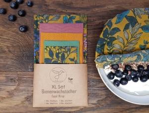 Bienenwachstuch, 5er XL-Set Floral, Food Wrap