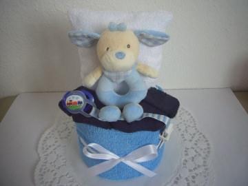 Windeltorte Junge Taufe Geburt Greifling blau
