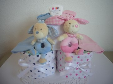 Windeltorte Zwillinge Geburt Taufe Mädchen Junge rosa blau