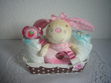 Geldgeschenk Mädchen Windeltorte Geburt Taufe rosa Hase