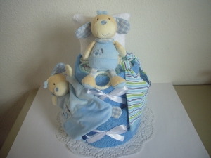 Windeltorte Junge Spieluhr Geburt Taufe Schmusetuch Mütze Geschenk Babyparty