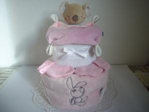 Windeltorte Mädchen rosa Kuscheldecke Geburt Taufe Weihnachtsgeschenk
