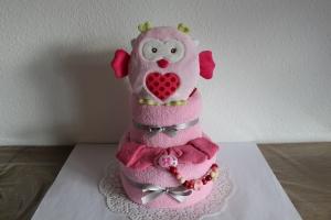 Windeltorte Mädchen Wärmekissen Eule rosa pink Taufgeschenk Geburtsgeschenk Handtuch