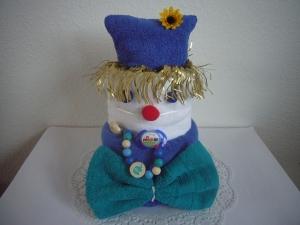 Windeltorte Junge Karneval Fasching Clown blau grün Schnullerkette - Handarbeit kaufen