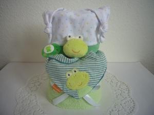 Windeltorte Junge Frosch grün Schnullerkette Mütze Halstuch Dreieckstuch Geburt Taufe Babyparty