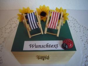 Geldgeschenke Garten Geburtstag Ruhestand Liegestuhl relaxen Geld verschenken Sonnenblumen