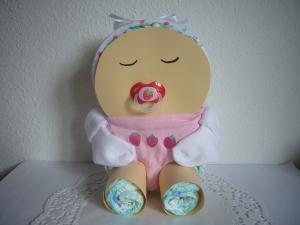 Windeltorte Mädchen Baby Windelbaby Dreieckstuch Erdbeeren rosa rot - Handarbeit kaufen