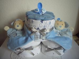 Windeltorte Zwillinge Jungen Geburt Taufe Sterne blau Schmusetuch Mullwindel