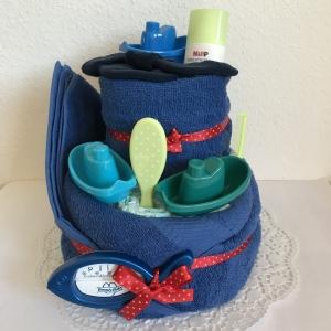 Windeltorte Junge Badespaß blau Punkte zum Baden Boot Schiff Geburt Taufe - Handarbeit kaufen