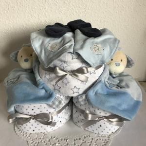 Windeltorte Jungen Zwillinge Sterne Geburt Taufe blau Schmusetuch Mullwindel Dreieckstuch