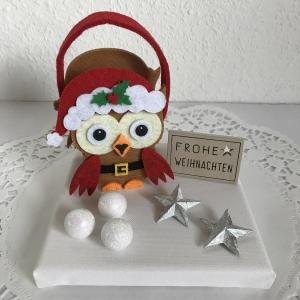 Eule Weihnachten Geldgeschenk Weihnachtsdeko Sterne Schnee Geld Gutschein Weihnachtsgeschenk Frohe Weihnachten Filz-Tasche Holz