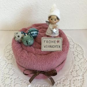 Weihnachtsgeschenk Engel Schellen Sterne Handtuchtorte Frohe Weihnachten Duschtuch altrosa mint creme petrol weiß