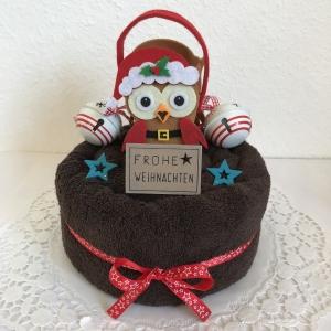 Weihnachtsgeschenk Eule Filz-Tasche Gutschein Schellen Sterne Handtuchtorte Frohe Weihnachten Duschtuch rot weiß - Handarbeit kaufen
