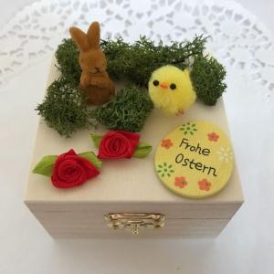 Geldgeschenk für Ostern verpacken Ostergeschenk Osterei Frohe Ostern Osterhase Küken Holz-Box - Handarbeit kaufen