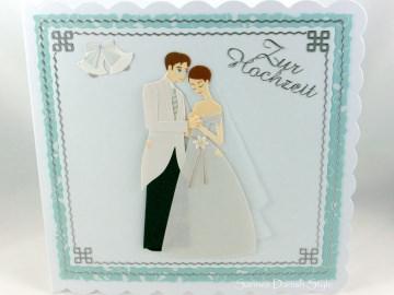 Hochzeitskarte mit Brautpaar und Glocken, ca 15 x 15 cm