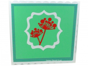 Neutrale Grußkarte mit Blumen, ca. 15 x 15 cm - Handarbeit kaufen