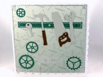 Geburtstagskarte, Grußkarte, Werkzeug, Mann, Säge, Hammer, Geburtstag Mann, ca. 15 x 15 cm