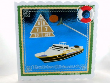 Geburtstagskarte Urlaub mit Kreuzfahrtschiff und Schiffsspiele, ca. 15 x 15 cm