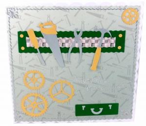 Grußkarte Heimwerker, selber Macher, Hobby Bastler mit Werkzeug, Werkzeugskiste, Hammer, Säge, Kneifzange, ca. 15 x 15 cm - Handarbeit kaufen