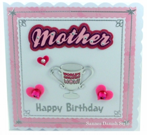 Geburtstagskarte mit Herzen und Pokal für Mütter, ca. 15 x 15 cm - Handarbeit kaufen
