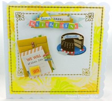 Grußkarte Rentner, Ruhestand und genießer Leben,  mit Kuche und Brief, ca. 15 x 15 cm - Handarbeit kaufen