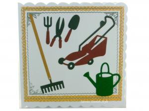 Grußkarte Garten, Verpackung für Gutscheine, Glückwunschkarte mit Rasenmäher, Gießkanne und Gartengeräte, ca. 15 x 15 cm