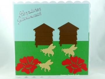 Geburtstagskarte für Imker mit Bienen, Bienenstock und Blumen, ca. 15 x 15 cm