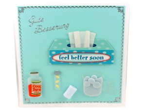 Grußkarte, Gute Besserung, Gute Besserungswünsche, mit Taschentücher, Hustensaft, ca. 13,5 x 13,5 cm - Handarbeit kaufen
